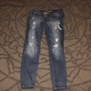 "American Eagle womens ""jeggings"" dark wash ripped"